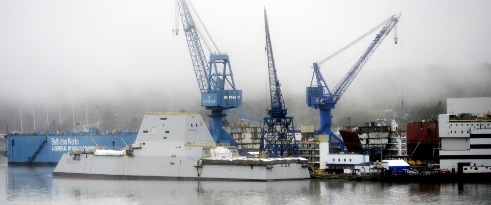 The annual defense funding bill included more than $1 billion for destroyers being built at Bath Iron Works, such as the USS Zumwalt, shown here under final construction. It also included changes that could lure development to the former Brunswick Naval Air Station.