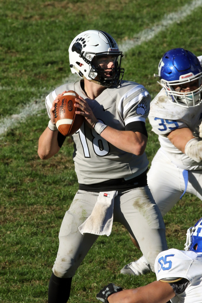 In his first start last weekend, Noah Nelson of Falmouth became the first Bowdoin QB to pass for 300 yards. Photo contributed by Bowdoin College