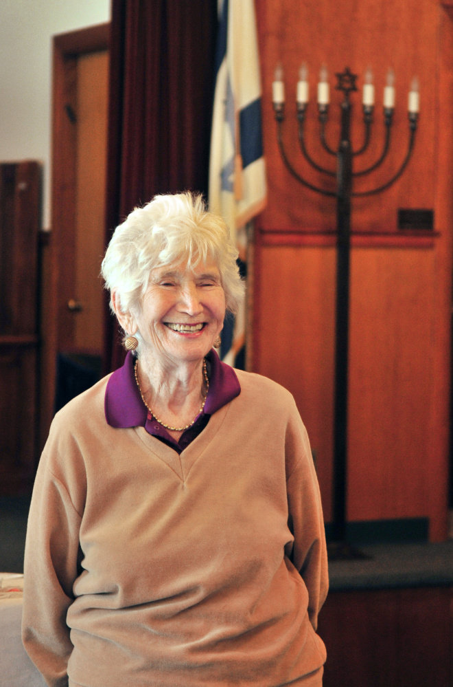 Charlotte Goos answers questions during an interview Wednesday at Temple Beth El in Augusta.
