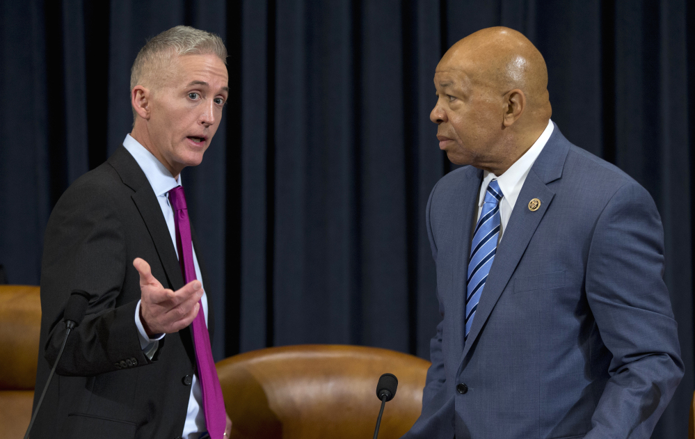 House Benghazi Committee Chairman Rep. Trey Gowdy, R-S.C., left, talks with the committee's ranking Democratic member, Rep. Elijah Cummings, D-Md., on Thursday.