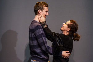 "Betsy Aidem, as Marguerite Oswald in ""Mama's Boy,"" embraces Graham Emmons, as Lee Harvey Oswald, during a rehearsal for ""Mama's Boy"" at the St. Lawrence Arts Center in Portland."