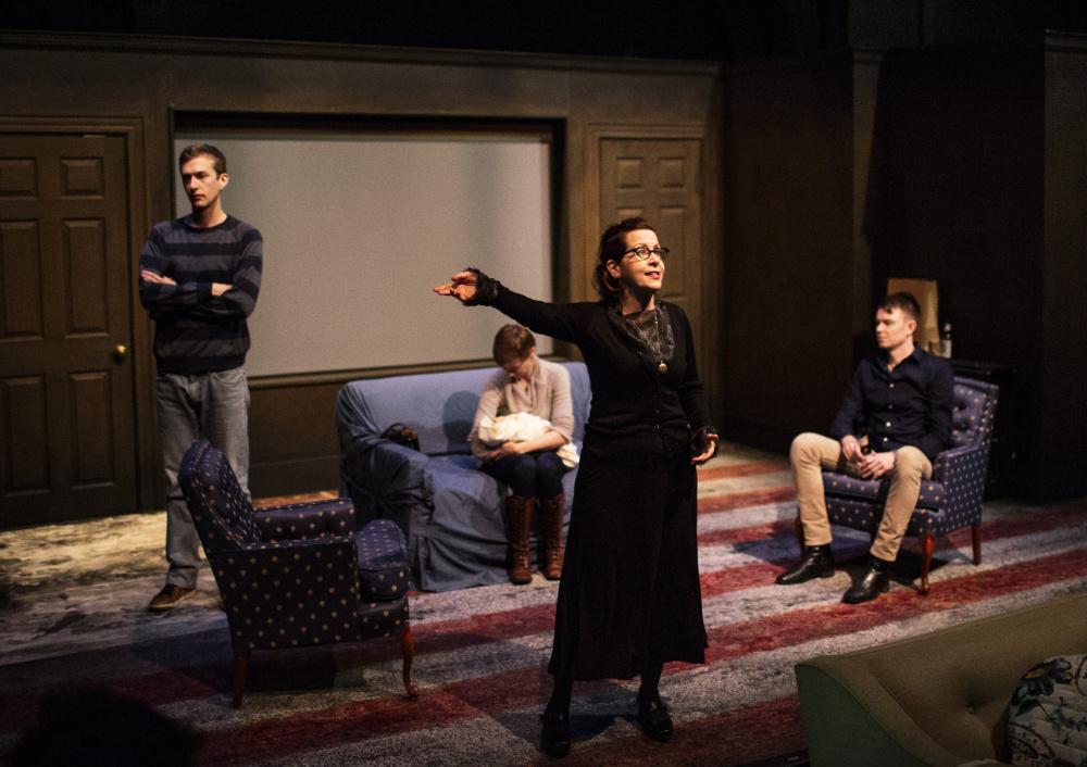 "Betsy Aidem, as Marguerie Oswald, rehearses with the cast of ""Mama's Boy."""