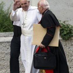 Pope Francis, center, seen with Cardinal Ricardo Ezzati Andrell at the Vatican for the synod of bishops, is facing stiff pressure for his reformist agenda.