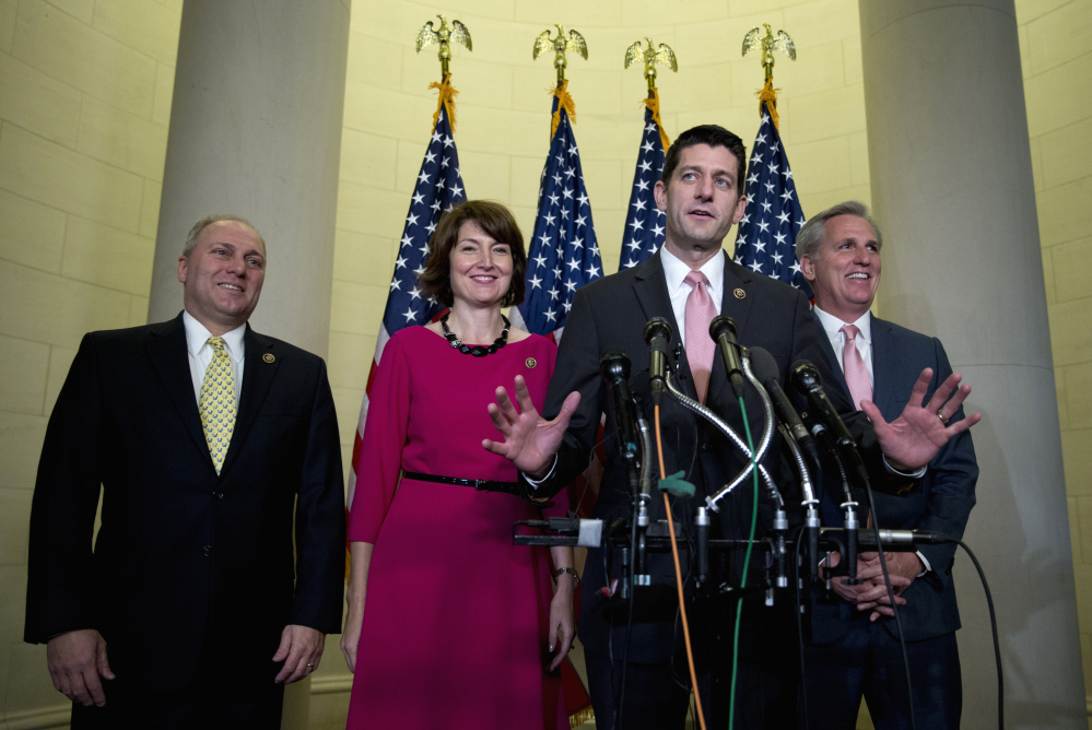 Rep. Paul Ryan, R-Wis., joined by, from left, House Majority Whip Steve Scalise of Louisiana, Rep. Cathy McMorris Rodgers, R-Wash., and House Majority Leader Kevin McCarthy of California, speaks to media on Capitol Hill in Washington on Wednesday after he was nominated to become the chamber's next speaker.