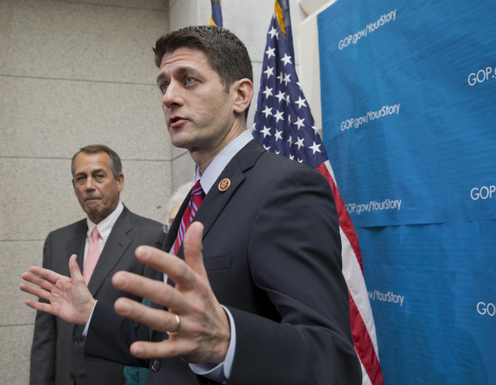 2013 Associated Press File Photo Rep. Paul Ryan, R-Wis., right, is expected to win the spot being vacated by House Speaker John Boehner of Ohio, left.