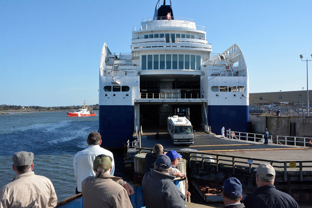 """Vehicles disembark from the Nova Star after arriving in Yarmouth, Nova Scotia, from Portland in this July 2014 photo. Geoff MacLellan, the Nova Scotia minister of transportation, says, """"We had serious challenges with the Nova Star operations. It made it difficult for us to continue with that relationship."""""""
