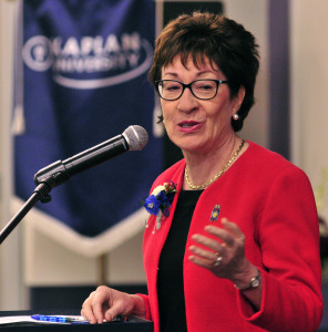 """U.S. Sen. Susan Collins tells an audience at Kaplan University in Augusta that she hopes Congress will take action after a gunman killed nine in Oregon last week. She said the Mental Health Reform Act would help families deal with violent family members before a tragedy occurs. """"It's intended to improve access to mental health services,"""" she said. Joe Phelan/ Kennebec Journal"""