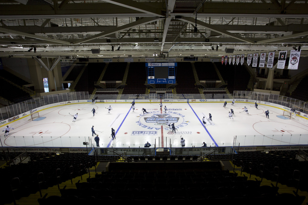 Thursday was a quiet day at the Cross Insurance Arena as Maine prepared for the start of its hockey season. Friday night will be a lot louder when the Black Bears take on Michigan State after North Dakota meets Lake Superior State. Gabe Souza/Staff Photographer