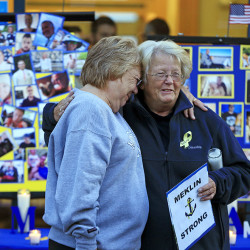 Judy Marzolf, left, hugs Deborah Dyer before a vigil of hope held at Maine Maritime Academy for the missing crew members of the U.S. container ship El Faro on Tuesday in Castine. Dyer's nephew, Dylan Meklin of Rockland, is one of the four Maine Maritime Academy graduates who are missing after the El Faro vanished near the Bahamas during Hurricane Joaquin.