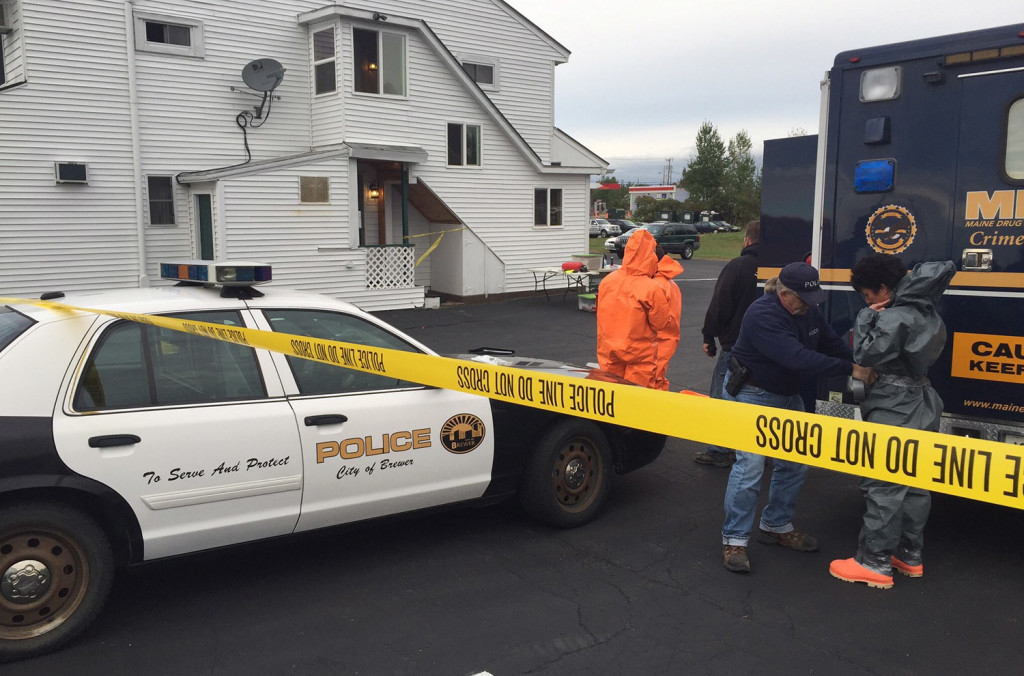 Drug agents in protective suits went into the Vacationland Inn in Brewer on Thursday and confirmed that there was a meth lab in the room rented by Erica Hodgdon, police say. Photo courtesy Maine Department of Public Safety.
