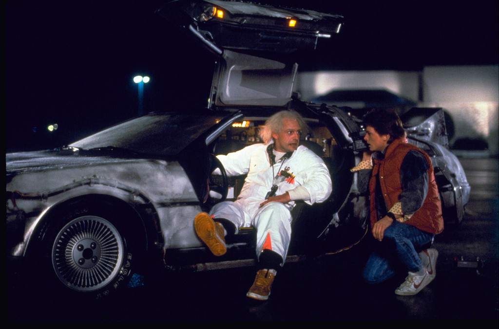 "This photo provided by Universal Pictures Home Entertainment shows Christopher Lloyd, left, as Dr. Emmett Brown, and Michael J. Fox as Marty McFly in the 1985 film, ""Back to the Future."" The Associated Press"