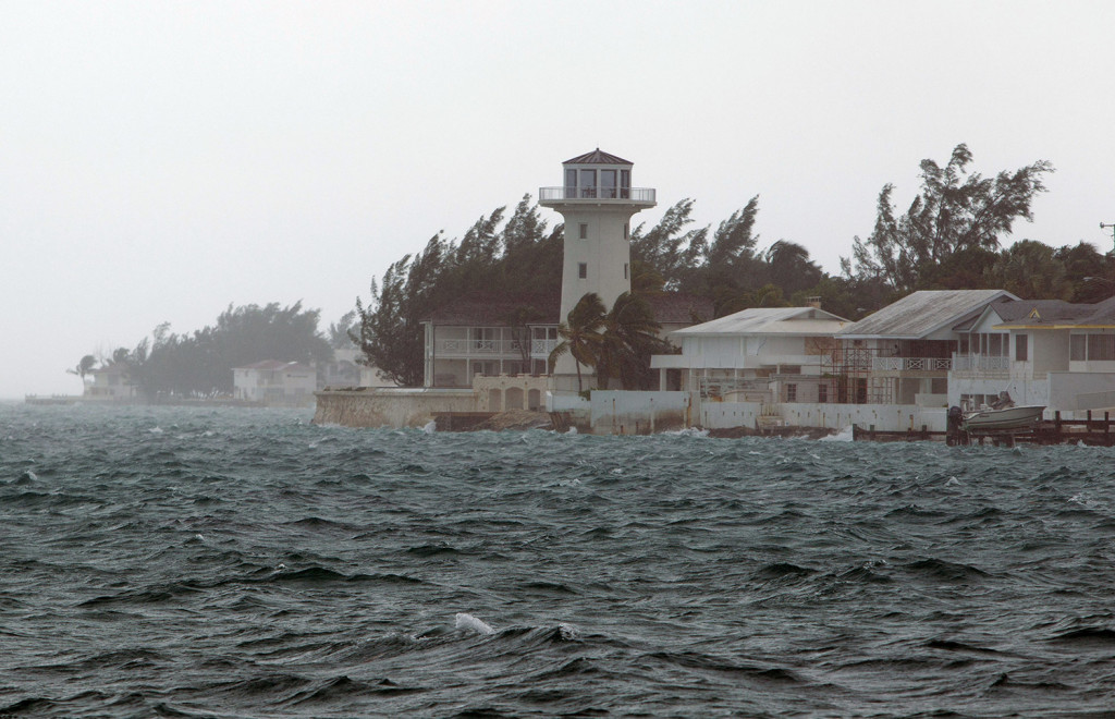 Wind and rain from Hurricane Joaquin hit Nassau, Bahamas, on Friday. The hurricane dumped torrential rains across the eastern and central Bahamas as a Category 4 storm. The Associated Press