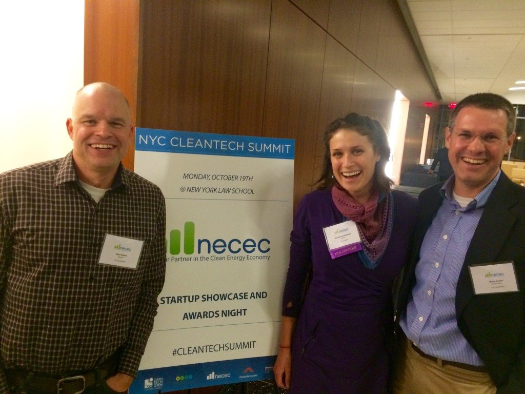 John Rooks of Rapport (left), Bonnie Frye Hemphill of E2Tech, and Steve Musica of Beltane Solar at the NYC Cleantech Summit.