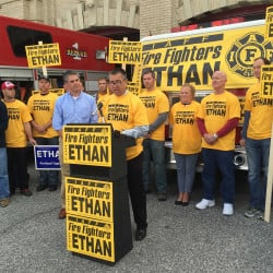 John Brooks, president of the Portland Professional Fire Fighters Union, announced Monday that the 250-member is supporting former state Sen. Ethan Strimling in the Portland mayor's race. Randy Billings/Staff Writer
