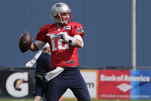 Patriots quarterback Tom Brady throws during practice in Foxborough, Mass., Wednesday. The Patriots face the Indianapolis Colts on Sunday. The Associated Press
