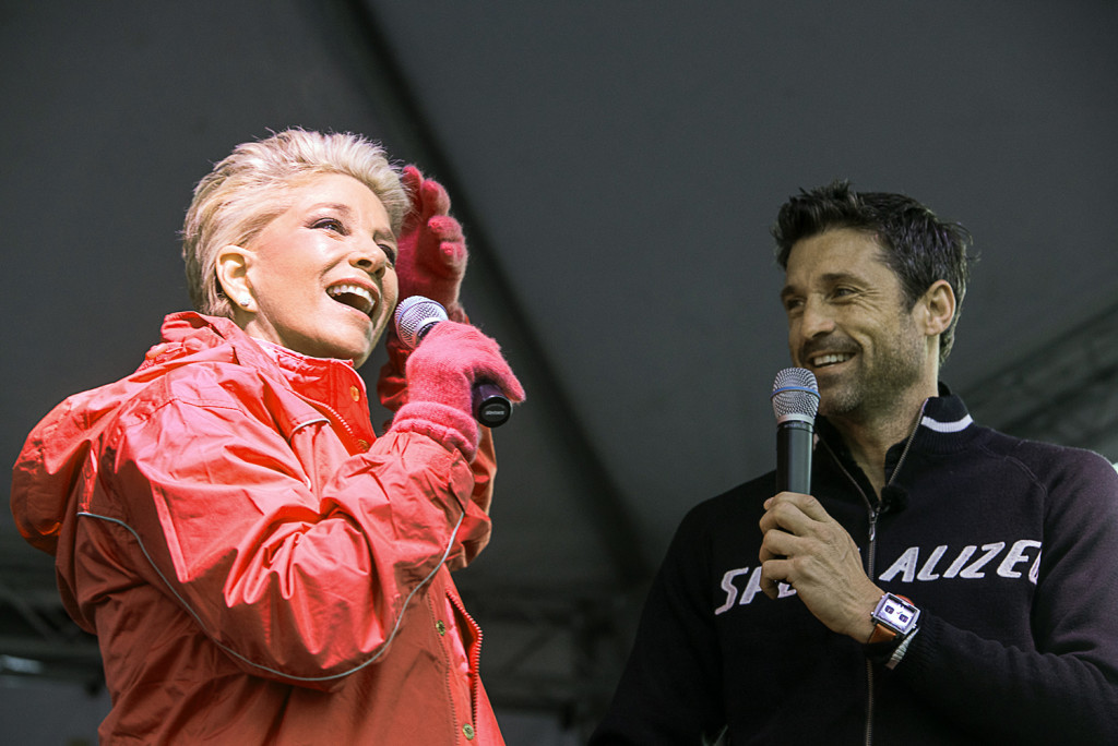 Joan Lunden shows off her new hair growth to Patrick Dempsey before the start of The Patrick Dempsey Center for Cancer Hope & Healing fundraiser on Saturday in Lewiston.  The Associated Press/ Andree Kehn /The Lewiston Sun-Journal