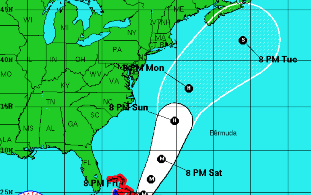 This screen grab from a National Weather Service map shows the track projected for Hurricane Joaquin as of 11 p.m. Thursday.
