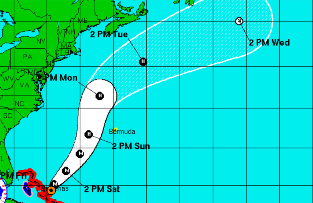This screen grab from a National Weather Service map shows the track projected for Hurricane Joaquin as of 8 p.m. Friday.