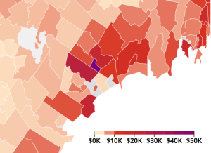 Screenshot of IRS investment data interactive map, showing investment income in greater Portland.