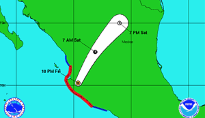 This National Weather Service map shows the projected path of Hurricane Patricia as of 11 p.m. Friday.