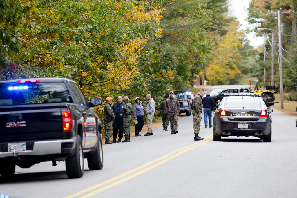 Police search off Maquoit Road in Brunswick for Lisa Marie Cox, 30, who was reported missing Monday. Gabe Souza/Staff Photographer