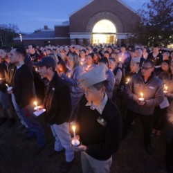 Students and faculty members attend a vigil Tuesday evening at Maine Maritime Academy for the crew members of the El Faro, four of whom graduated from Maine Maritime. Gregory Rec/Staff Photographer
