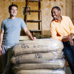 Rwanda Bean Co. founders Nick Mazuroski, left, and Mike Mwenedata aim to make a difference in the East African nation of Rwanda, where Mwenedata fled genocide. Whitney Hayward/Staff Photographer