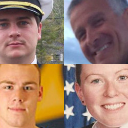 Pictured left to right, top to bottom, are Michael Holland of Wilton, Capt. Michael Davidson of Windham, Dylan Meklin and Danielle Randolph, both of Rockland.