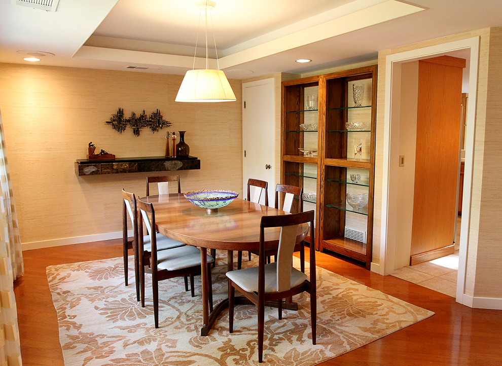The dining room at 35 Buttonwood Lane in Portland after it is staged by The Styled Home using the owner's possessions.