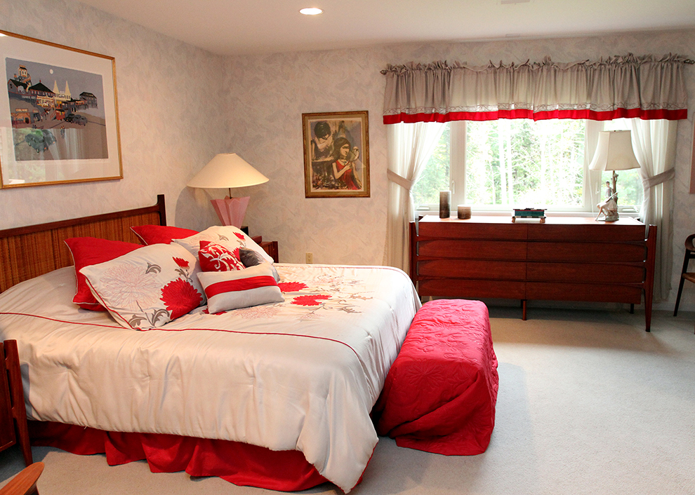 The master bedroom  at 35 Buttonwood Lane in Portland before it is staged by The Styled Home using the owners possessions.