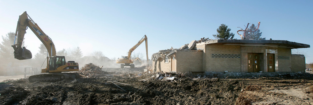 Demolition work continues Tuesday at St. Patrick Roman Catholic Church on Congress Street in Portland.