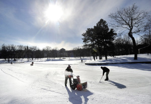 There won't be any ice time at the Deering Oaks pond this winter, as the city rebuilds the bottom of the pond. 2013 Press Herald file photo/John Patriquin