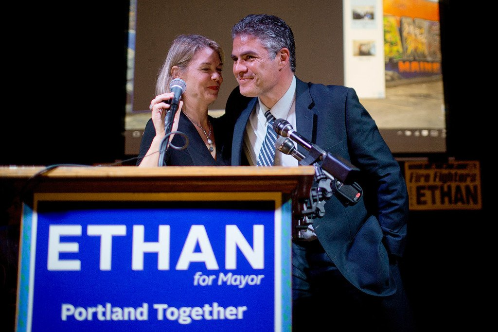 "Ethan Strimling shares a moment with his campaign manager Stephanie Clifford after he won the Portland mayoral race on November 3, 2015. Strimling's campaign slogan was ""Portland Together"" – but one year later, many of his colleagues on the Council are complaining of strained relationships."