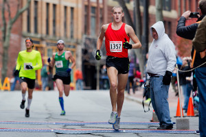 Andrew Bennison of Portland, Oregon, was the winner of the Thanksgiving Day road race in downtown Portland on Thursday morning. Bennison is in town visiting his sister for the holiday.