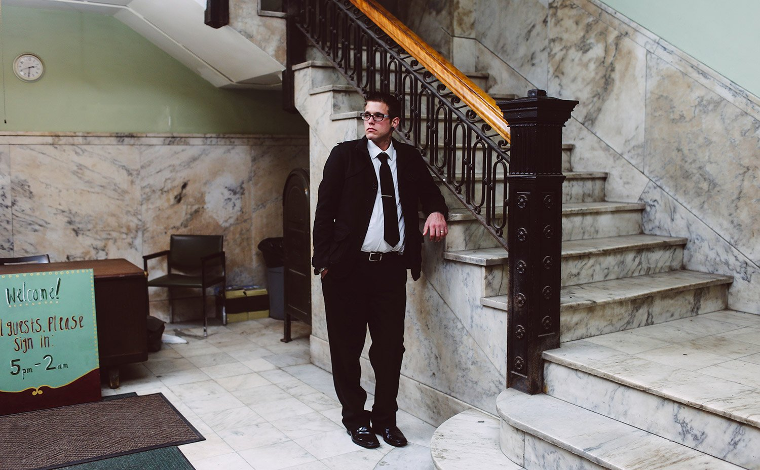 Landlord Adam Rice, standing in the lobby of one of 657 Congress Street