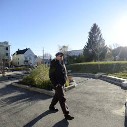 PORTLAND, ME - NOVEMBER 9: Kevin Donoghue walks  in his Munjoy Hill neighborhood near Marada Adams Park Monday, November 9, 2015. (Photo by Shawn Patrick Ouellette/Staff Photographer)