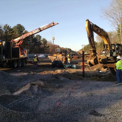 Installation of sewer line continues this week at the site for the Brunswick layover facility. Photo courtesy Northern New England Passenger Rail Authority