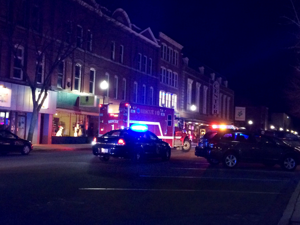 Main Street in Waterville was temporarily blocked off Monday evening as the Waterville Police Department and Waterville Fire Department responded to a report of a pedestrian struck by a vehicle.