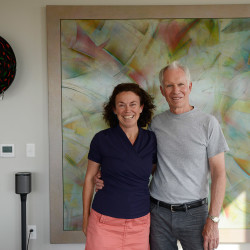 Susan Morris and Chip Newell in their Munjoy Hill condominium. The couple ended up in Portland by way of Boothbay Harbor, where they started spending summers 12 years ago before moving there year-round.
