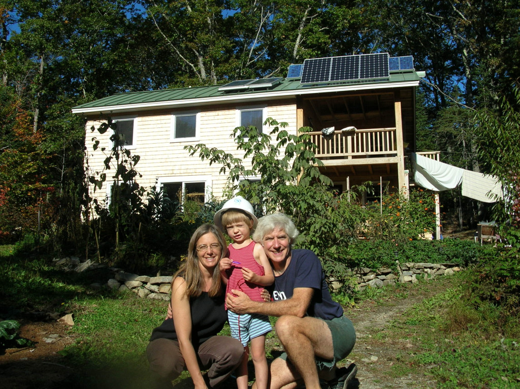 Susan Cutting, Jim Merkel and their son live off the grid in Belfast in a home designed to minimize energy use. Contributed photo