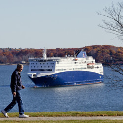 The Nova Star ferry sits 'under arrest' off the Eastern Promenade on Monday because of unpaid bills, which a spokesman says will be paid.
