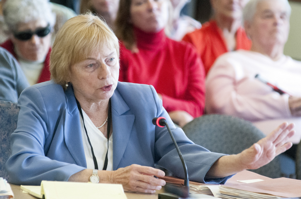 Attorney General Janet Mills briefs the Appropriations Committee on initiatives to address Maine's drug problem. She discussed a comprehensive approach, including treatment, law enforcement and prevention. Joe Phelan/Kennebec Journal