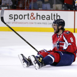 Capitals left wing Alex Ovechkin celebrates his goal in the first period of Thursday's game against the Boston Bruins in Washington. (AP Photo/Alex Brandon)