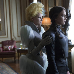 "Elizabeth Banks, left, and Jennifer Lawrence in ""The Hunger Games: Mockingjay – Part 2."""
