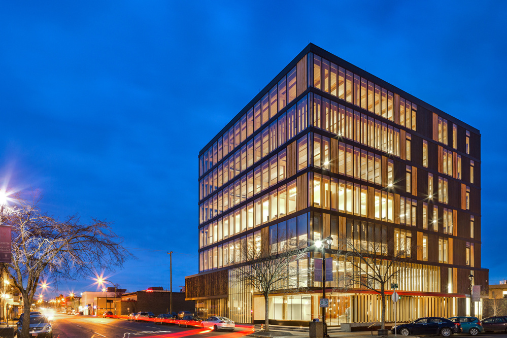 The 96-foot-tall cross-laminated timber Wood Innovation Design Centre is in Prince George, British Columbia. Maine could develop new markets for forest products and remove carbon from the atmosphere by promoting this kind of construction in our cities.