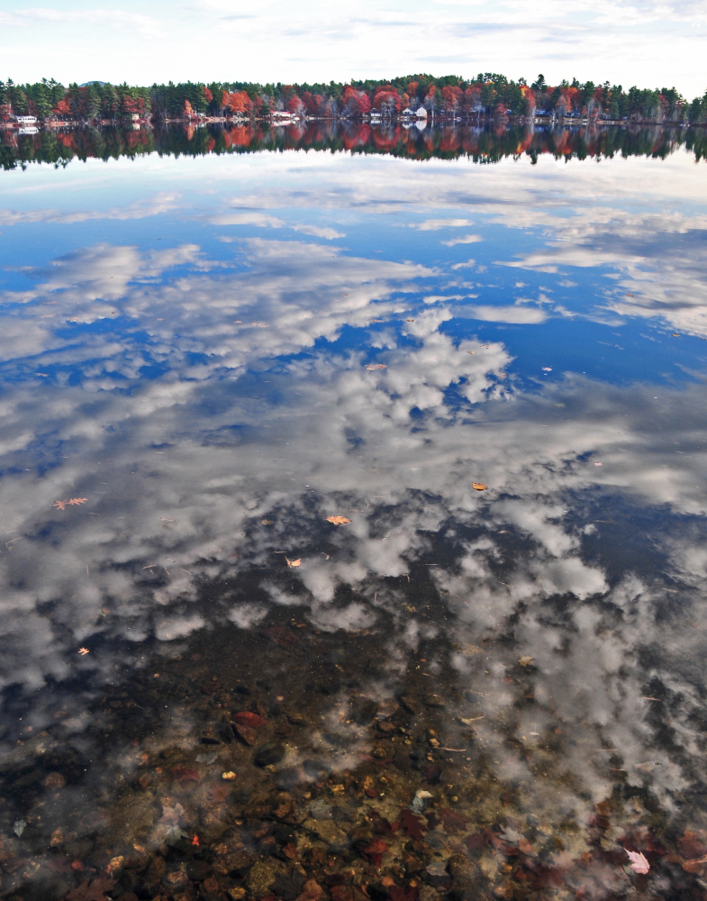 Erik Bartlett captured this election day morning image of Thomas Pond in South Casco. In the still water, the clouds, rather than looking reflected, almost seem like pieces of cotton suspended in the water.