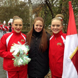 From left, Wells High School Color Guard dancer Anna Libby, squad director Bailey Smith and flag performer Adrienne Perron wait to step into the 2014 Macy's Thanksgiving Day Parade in New York City. The team will return for an encore performance this year. Photo courtesy Bailey Smith