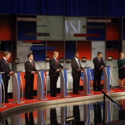 Republican presidential candidates John Kasich, Jeb Bush, Marco Rubio, Donald Trump, Ben Carson, Ted Cruz, Carly Fiorina and Rand Paul take the stage for the main Republican presidential debate Tuesday night in Milwaukee.