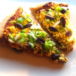 This cheese- and meat-free pizza features roasted tofu with herbs. Avery Yale Kamila photo