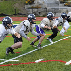 The Portland High offensive linemen are a big reason that the team has developed an outstanding ground game on the way to an undefeated record in Class A North. They are, from left: Nick Giaquinto, Charlie Kovarik, Dylan Wike, Dan Marzilli and Tommy O'Donnell.